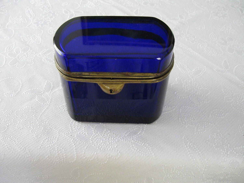antique bohemian cobalt blue glass jewelry box by chosesdantan