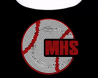 Custom High School Baseball RHINESTONE t-shirt tank top sweatshirt S M L XL 2XL - Pick letters and rhinestone colors