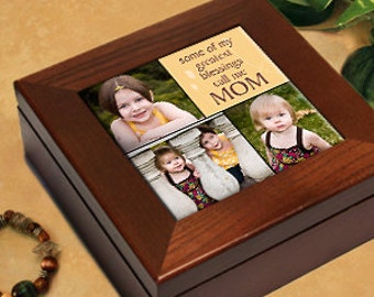 """Photo Personalized Wood Keepsake / Jewelry Box - """"Some of My Greatest Blessings"""" - Great Gift for Mothers and Grandmothers"""
