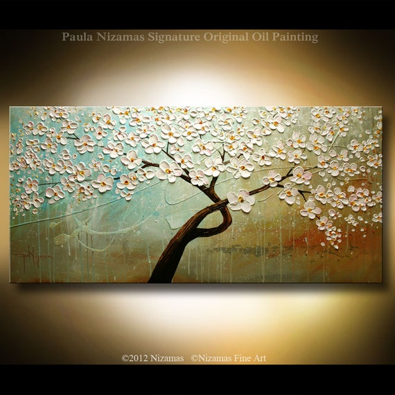 "Original Modern Palette Knife Painting on Canvas June by Paula Nizamas Earth Tones 48"" by 24"""