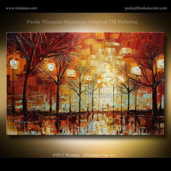 """ORIGINAL Signed Modern Palette Knife Oil Abstract  Landscape Painting by P. Nizamas 36"""" x 24"""""""