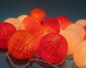 Orange tone colors cotton ball holiday/Party String Lights 20 Lanterns