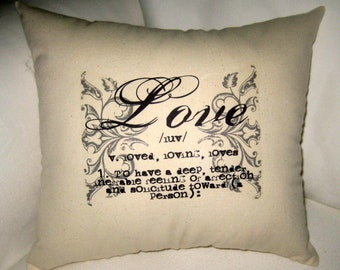 French Country Love Pillow, Shabby Chic Cushion, Perfect Wedding Gift, Typography, Neutral Home Decor, Paris Inspired
