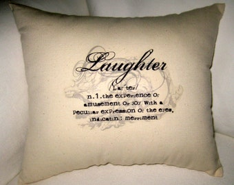 Laughter Typography Pillow, Word Definition Cushion, Neutral Shabby Chic Home Decor, French Country