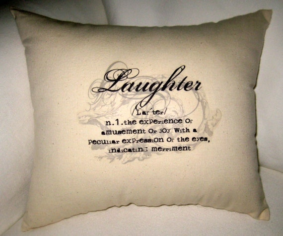 Define Cusion: Laughter Typography Pillow Word Definition Cushion Neutral