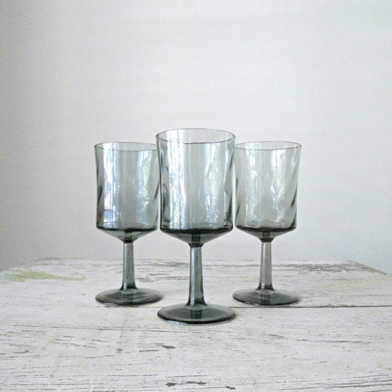 Vintage Wine Glasses - Blue Grey, Retro, Set of 3