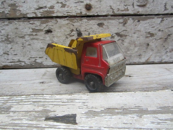Vintage Distressed Toy Dump Truck Miniature Toy Truck Marx Yellow and Red Rusted Old