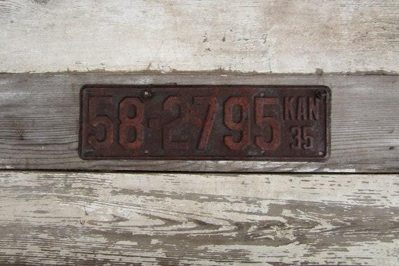 Vintage Kansas  Metal License Plate  1935 Rust Rusted Old