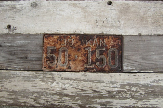 Vintage Kansas  Metal License Plate 1939 Rust Rusted Old Distressed Salvaged Metal Antique