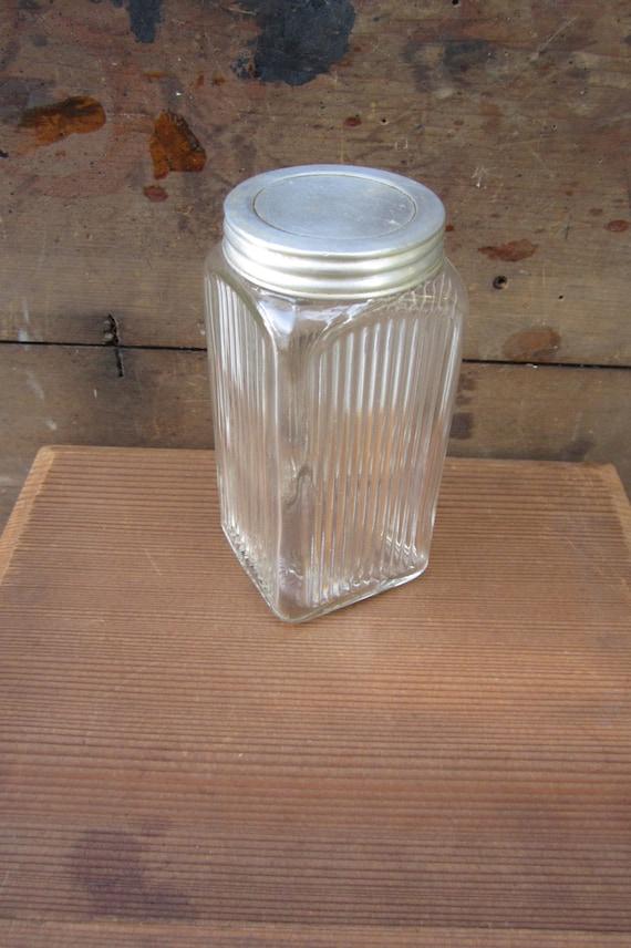 Vintage Glass Jar Depression Era Glass Spice Jar 1930s Hoosier Jar