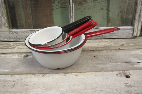 Old Fashion Collection of Pots and Pans Red White Black White