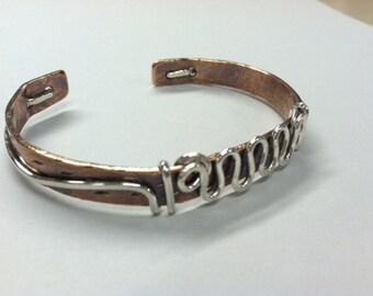 Copper Cuff with Sterling Silver Swirls