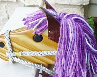 Purple Stick Horse with Full Bridle - Hobby Horse Toy