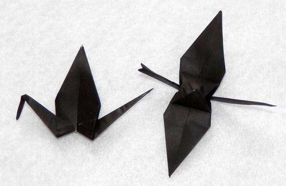Origami Cranes - 100 small Black Origami Paper  Cranes