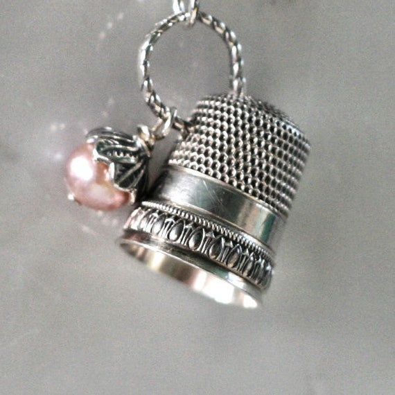 Peter Pan & Wendy Kisses Thimble and Acorn Necklace in Solid Sterling