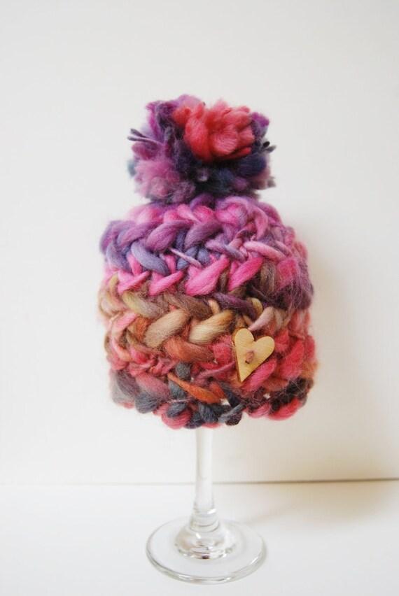 Knit Chunky Criss Cross Pom Pom Hat - OOAK - Newborn - Handspun 100% Merino Wool - photo prop - Ready to Ship