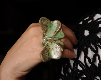 Butterfly ring - ceramic jewelry. Statement rings