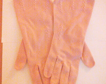 Vintage 1950s Mauve Pink Gloves Prom Wedding Rockabilly VLV Medium Large