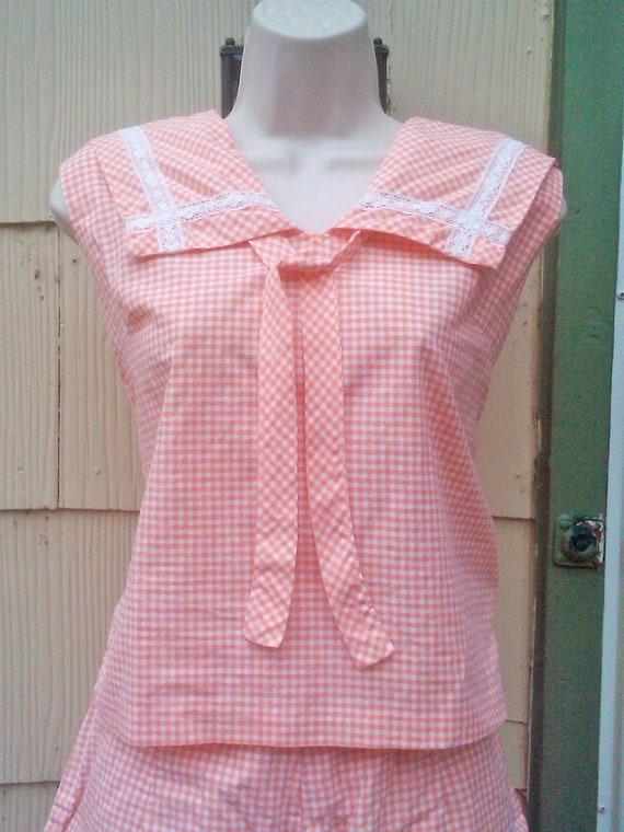 Vintage 1950s Orange Gingham  Sailor Play Suit  Rockabilly Pin Up Small Medium VLV