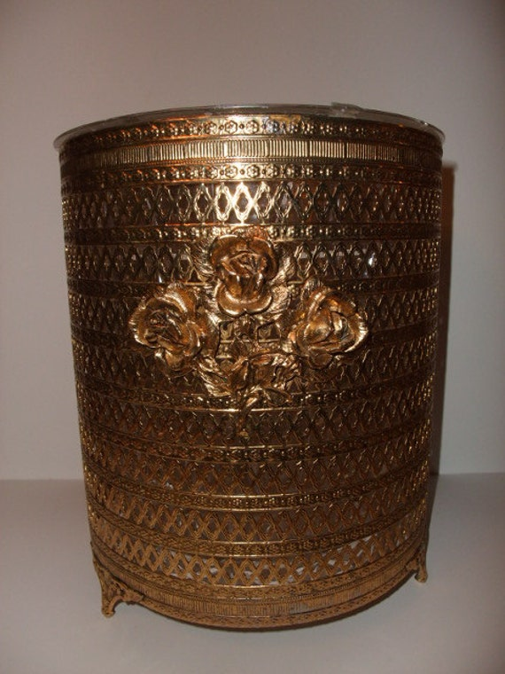 Vintage Gold Filigree Vanity Waste Basket with hard plastic liner circa 1960s