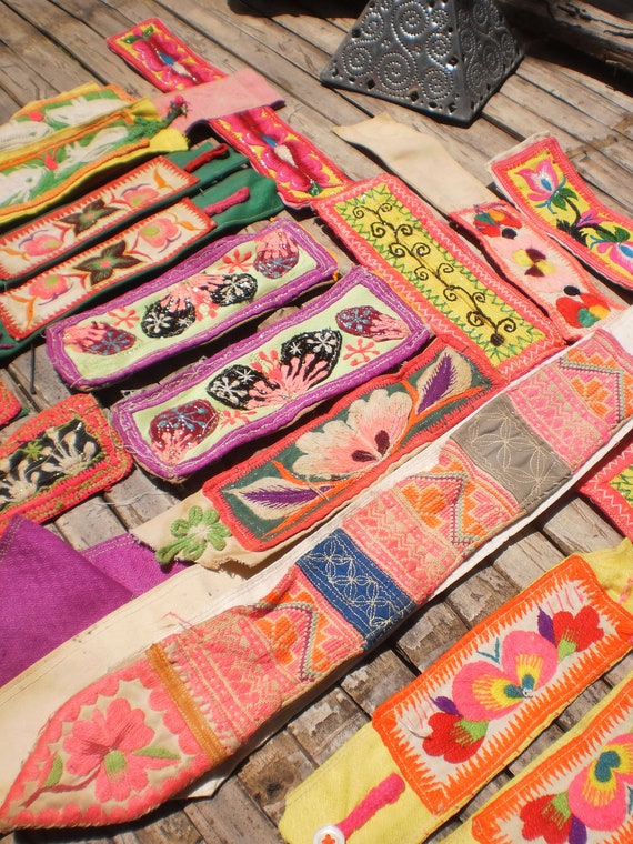 Vintage Hmong Old Fabric Embroided Tribal Pieces 10 pairs