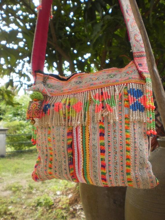 Hmong Vintage Tribal Textile Upcycled Hand Made Bag