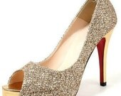 Made to order bling shinning shoes  party wedding shoes , open toe pumps golden brown  black matallic shoes , peep toe pumps