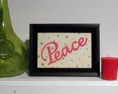 Peace, Framed Christmas Art, Christmas Sign, Holiday Decor, Wall Art, Table Top Decor, Peace Sign, Christmas Decor, Holiday Sign