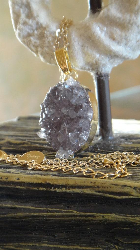 Shimmering Amethyst Druzy Jewelry, Agate Slice Necklace, Geode Druzy Necklace, Druzy Necklace