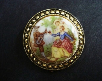 SPECIAL  SCARF PIN or Clip - Made in West Germany - Made from  Porcelain and Metal -.Courting Couple