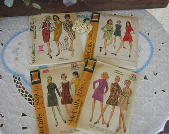 Set of Four Vintage 1960s McCalls Dress Patterns, Two Uncut, and Two Used But Complete all Size 14