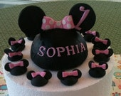 Personalized 3D Fondant Minnie Mouse Head Cake Topper and Cupcake Topper