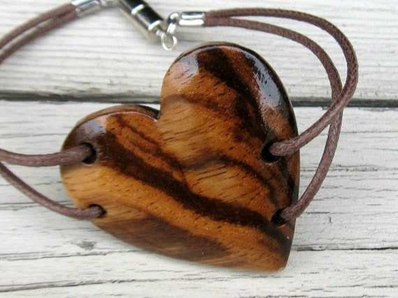 Plus Size Bracelet  Hand Crafted African Zebrawood Heart