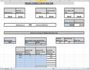 Pricing Calculator Spreadsheet Profit Estimation Tool Easy To Use Wholesale Retail Supplies Labor Cost Set Your Own Price