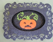 Small Pumpkin Jack O Lantern Halloween Shadowbox Framed Picture