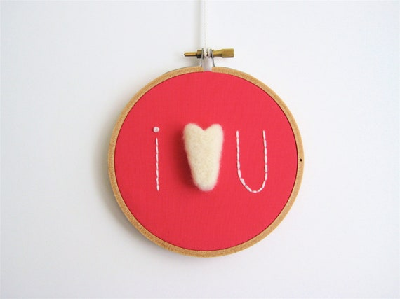 I Love You Embroidery Hoop Wall Hanging in Dark Pink with Felt Heart