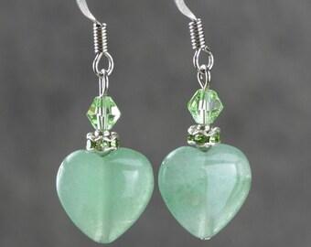 Jade heart drop dainty earrings Bridesmaids gifts Free US Shipping handmade Anni Designs