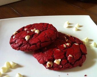 cookie-red velvet cookie dotted with white chocolate chip-1 dozen, moist and chewy