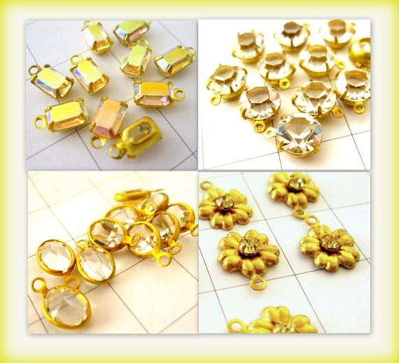 Crystal drops assortment - jewelry supplies - Crystal dangles Brass and crystal - Austrian crystal - 16 crystal dangles