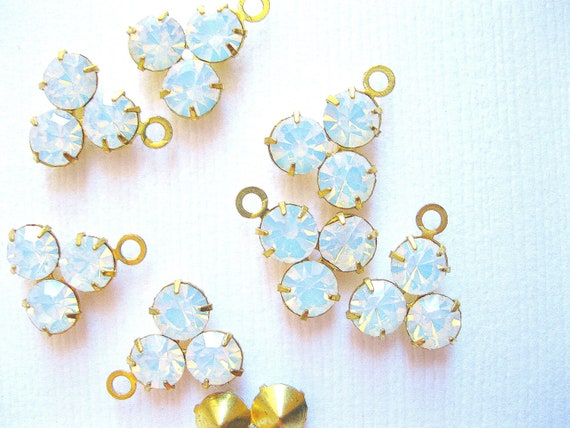 White opal crystal drop three stone one ring charm supplies 10mm prong set crystal drops 10 - jewelry supplies -crystal brass