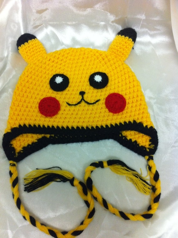Pokemon toddler hat / pikachu hat / children hat, / crochet hat /boy or girl hat / size 18 months to 3 years old READY TO SHIP
