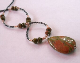 Unakite Pendant and Beaded Necklace