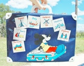 Mickey Mouse Suitcase Toy Collectible Childs Overnight Bag Disney European Countries With Classic Landmarks
