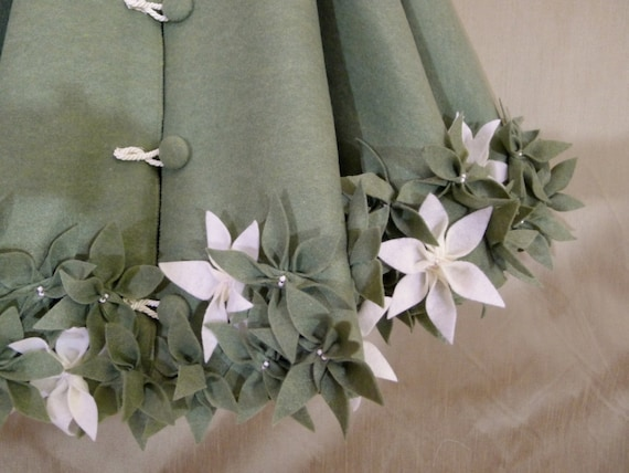 60 Christmas Tree Skirt In Olive Green Felt With By