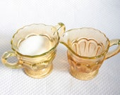 Set of 2 Vintage Cream and Sugar Set Yellow Amber Gold