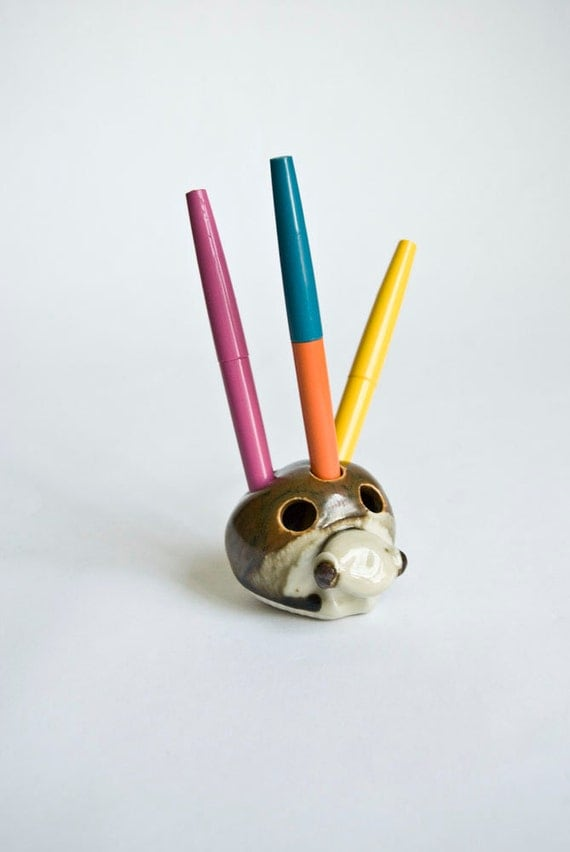 Snail Pencil or Pen Holder Ceramic Desk Office Studio Brown and Tan Small and Cute