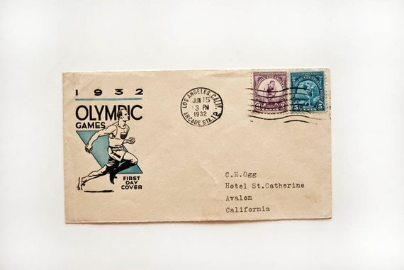 Vintage Olympic Games 1932 Envelope & Stamps First Day Cover Collectible Great Depression