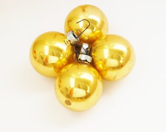 Gold Vintage Glass Christmas Ornaments set of 4 Rauch