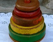 Vintage Wood Stacking Rings Toy