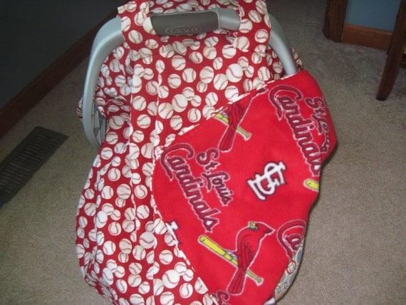 St Louis Cardinals Infant Car Seat Cover Blanket